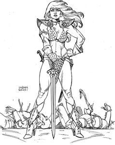 [Invincible Red Sonja #1 (Linsner Line Art Virgin Variant) (Product Image)]