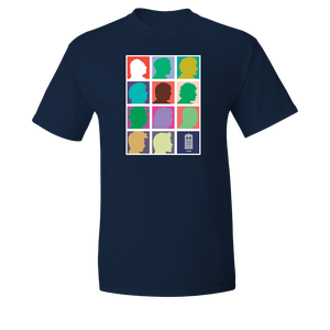 [Doctor Who: T-Shirt: 2013 Doctors Silhouette Grid (Pop Art) (Navy) (Product Image)]