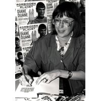 [Diane Duane signing Spock's World (Product Image)]