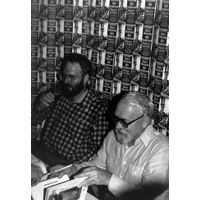 [Harry Harrison and Bill Sanderson signing Return to Eden (Product Image)]