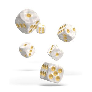 [Oakie Doakie Dice: D6 Dice 12 Set: Marble White (Product Image)]