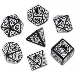 [Q-Workshop: Black & White Dice Set: Clockwork Steampunk (Product Image)]