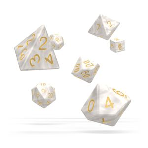 [Oakie Doakie Dice: RPG 7 Set: Marble White (Product Image)]