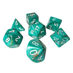 [Dice: Poly 7 Dice Set: Marble Oxi-Copper/White (Product Image)]