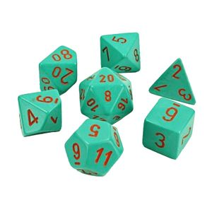 [Lab Dice: Poly Set Of 7 (Heavy / Turquoise Orange) (Product Image)]