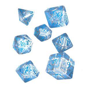 [Q-Workshop: Transparent & Blue Dice Set: Elvish (Product Image)]