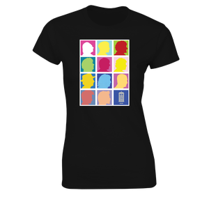 [Doctor Who: Women's Fit T-Shirt: 2013 Doctors Silhouette Grid (Pop Art) (Black) (Product Image)]