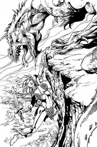 [Killing Red Sonja #5 (Castro Black & White Virgin Variant) (Product Image)]