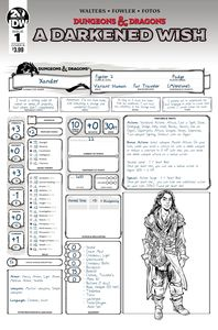 [Dungeons & Dragons: A Darkened Wish #1 (Cover B Character Sheet) (Product Image)]