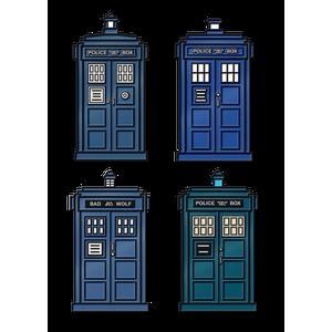 [Doctor Who: Flashback Collection: Enamel Pin Badge Set: The TARDIS (Pack I) (Product Image)]