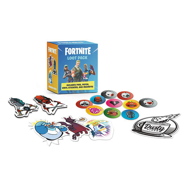 [The cover for Fortnite Loot Pack: Includes Pins, Patch, Vinyl Stickers, & Magnets!]