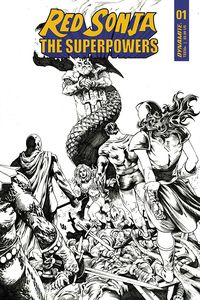 [Red Sonja: The Superpowers #1 (Lau Black & White Variant) (Product Image)]