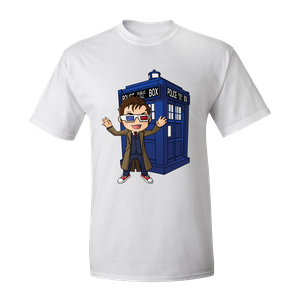 [Doctor Who: T-Shirt: Kawaii 10th Doctor & TARDIS By Kelly Yates (Product Image)]