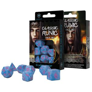[Q-Workshop Classic Runic Glacier & Pink Dice Set (7) (Product Image)]