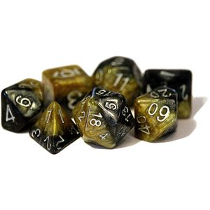 [Dice: Poly 7 Dice Set: Black Gold/Silver (Product Image)]