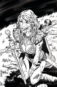 [Red Sonja: The Superpowers #1 (Federici Zombie Black & White Virgin Variant) (Product Image)]