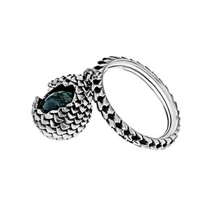 [Game Of Thrones: Dragonstone Glass Large Egg Ring (Labradorite Blue) (Product Image)]