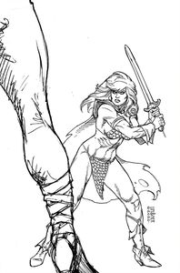 [Red Sonja: The Superpowers #3 (Linsner Black & White Virgin Variant) (Product Image)]
