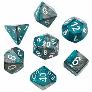 [Dice: Gemini Poly 7 Set: Steel-Teal/White (Product Image)]