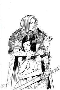 [Vampirella/Red Sonja #12 (Moss Black & White Virgin Variant) (Product Image)]