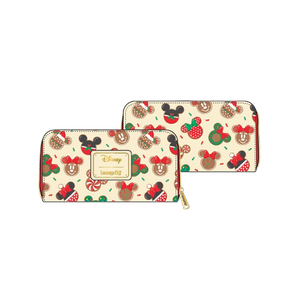 [Disney: Loungefly Zip Around Wallet: Mickey & Minnie Mouse Christmas Cookies (Product Image)]