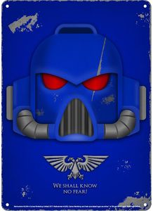 [Warhammer: Small Tin Sign: Space Marine Helmet (Product Image)]