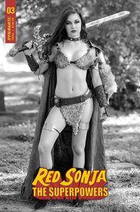 [Red Sonja: The Superpowers #3 (Cosplay black & White Premium Bonus Variant) (Product Image)]