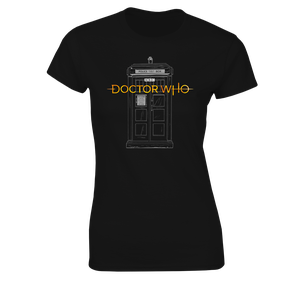 [Doctor Who: Women's Fit T-Shirt: 13th Doctor Logo & TARDIS (Product Image)]