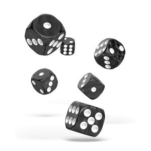 [Oakie Doakie Dice: D6 Dice 12 Set: Marble Black (Product Image)]