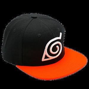 [Naruto Shippuden: Snapback Cap: Konoha (Black & Orange) (Product Image)]