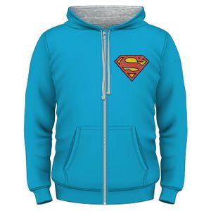 [Superman: Zipped Hoodie: Superman Logo (Product Image)]