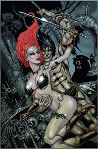 [Red Sonja/Tarzan #1 (Jetpack Forbidden Planet Jim Balent Virgin Variant) (Product Image)]