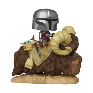 [Star Wars: The Mandalorian Deluxe Pop! Vinyl Bobblehead: The Mandalorian With The Child On Bantha (Product Image)]