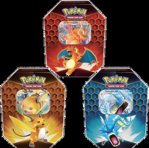 [The cover for Pokémon: Trading Card Game: Hidden Fates Tin: Charizard/Gyarados/Raichu]