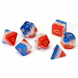 [Sirius Dice: Poly Dice Set: Red, White & Blue Semi Transparent (Product Image)]
