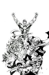 [Red Sonja: The Superpowers #2 (Lau Black & White Virgin Variant) (Product Image)]