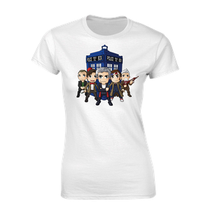 [Doctor Who: Women's Fit T-Shirt: The Five (Kawaii) Doctors & TARDIS By Kelly Yates (Product Image)]