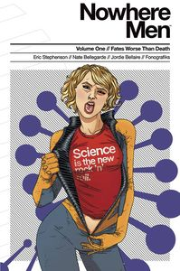 [Nowhere Men: Volume 1: Fates Worse Than Death (New Printing) (Red Shirt Variant) (Product Image)]