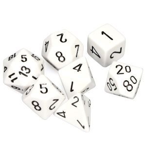 [Dice: Opaque Poly 7-Set: White/Black (Product Image)]