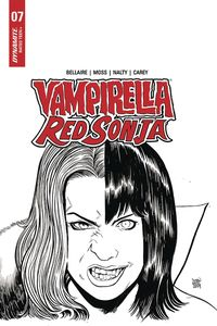 [Vampirella/Red Sonja #7 (Moss Black & White Variant) (Product Image)]