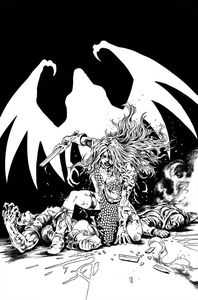 [Red Sonja: The Superpowers #5 (Lau Black & White Virgin Variant) (Product Image)]