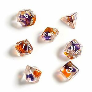 [Dice: Poly 7 Dice Set: Clear Purple Orange/White (Product Image)]