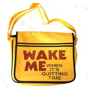 [Moon: Messenger Bag: Wake Me Slogan (Product Image)]