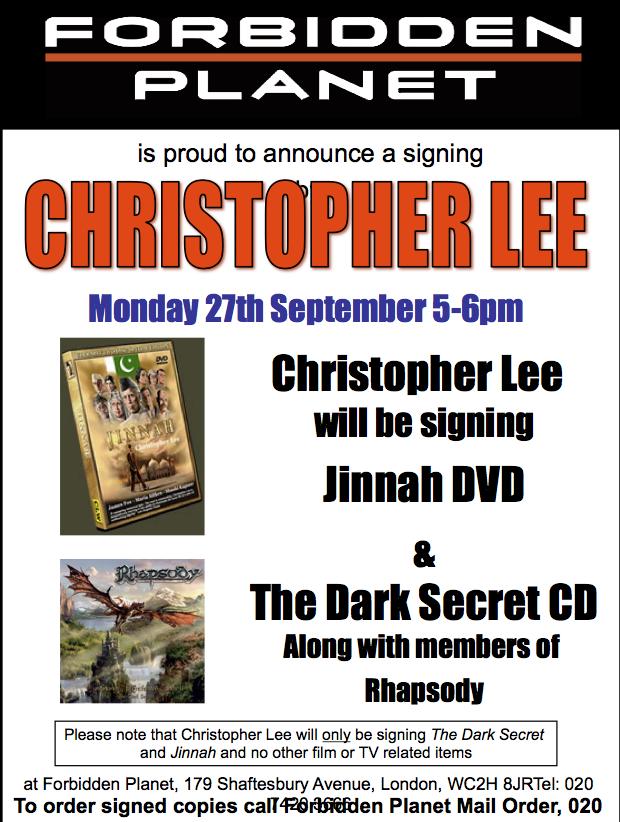 Christopher Lee Signing Jinnah DVD and The Dark Secret CD