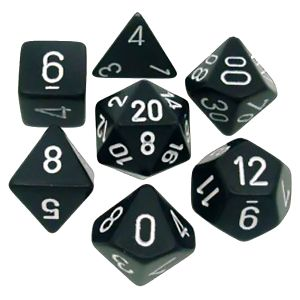 [Dice: Opaque Poly 7-Set: Black/White (Product Image)]