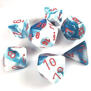 [Dice: Gemini Poly 7-Set: Astral Blue/White/Red (Product Image)]