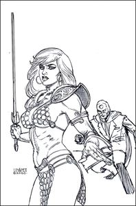 [Red Sonja: The Superpowers #2 (Linsner Black & White Virgin Variant) (Product Image)]