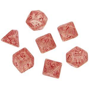[Q-Workshop: Transparent & Red Dice Set: Elvish (Product Image)]