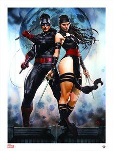 [Marvel Comics: Giclee Print: Daredevil & Elektra By Adi Granov (Signed, Black Costume Variant) (Product Image)]