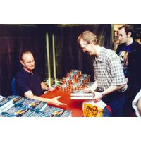 [David Gemmell signing Midnight Falcon (Product Image)]